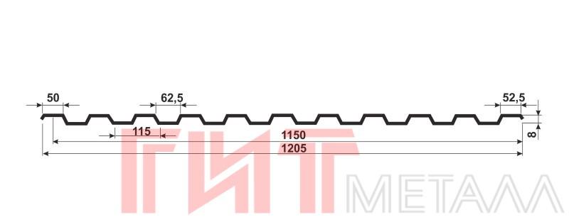 Схема Профнастила С8-1150